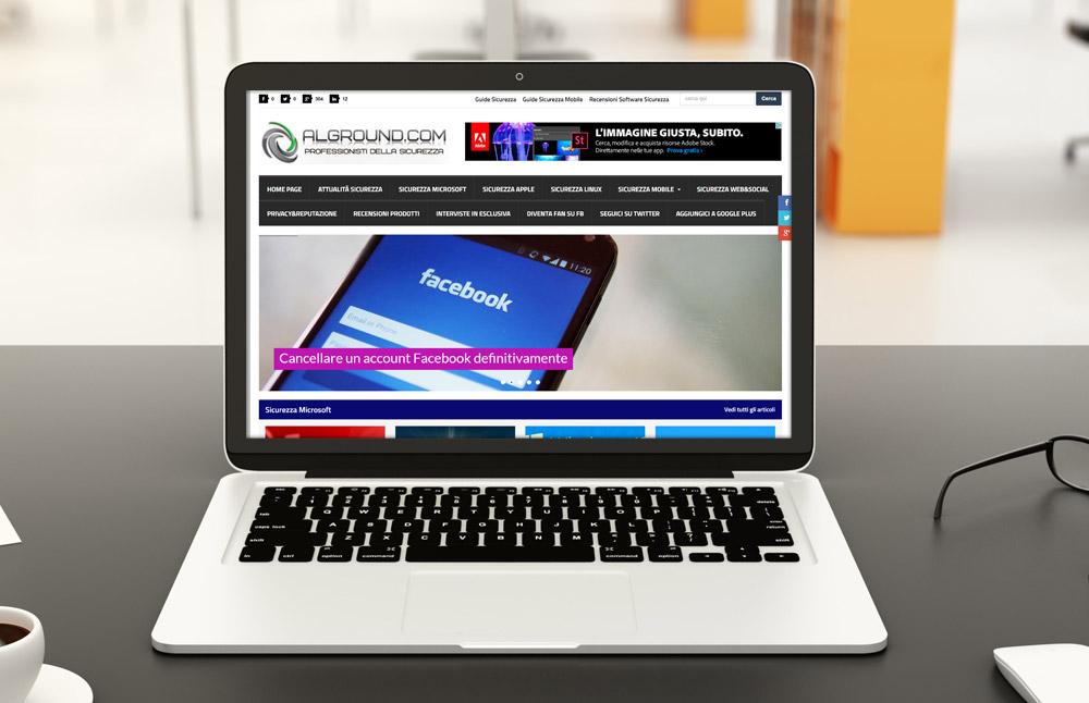 Sito Alground: versione per computer portatili