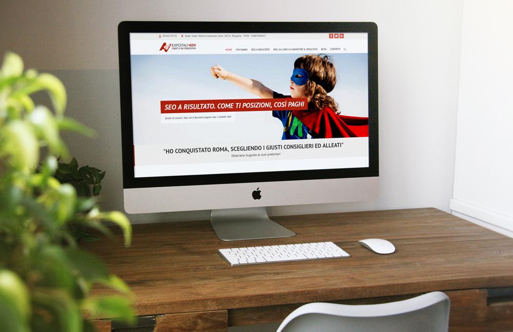 Creazione website e logo ExpoitalyAdv: versione desktop